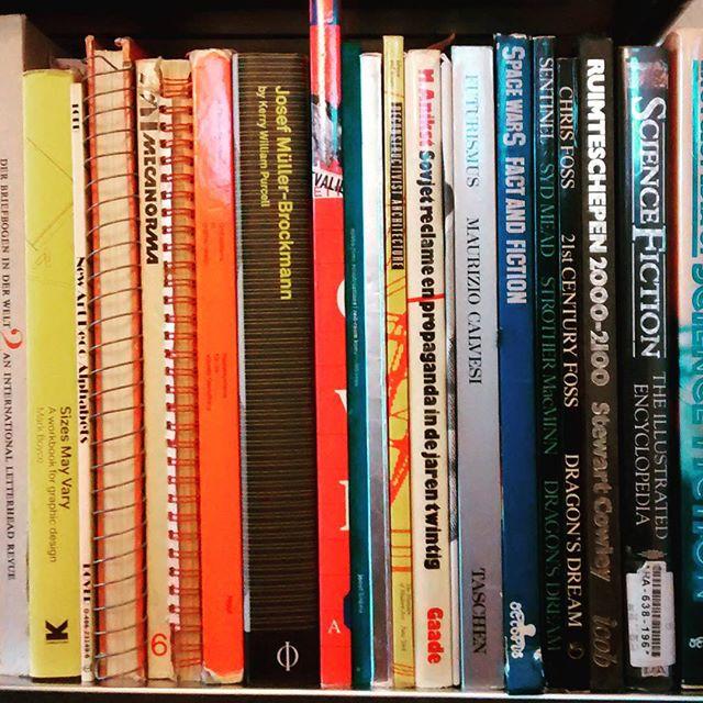Bottom shelf, big books.